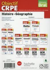 OBJECTIF CRPE ; histoire - géographie ; crpe en fiches (édition 2015) - 4ème de couverture - Format classique