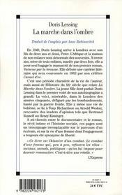 La marche dans l'ombre ; autobiographie 1949-1962 - 4ème de couverture - Format classique