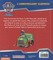 La Pat'Patrouille ; l'anniversaire surprise - 4ème de couverture - Format classique