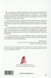 Paroles de praticiens : entrepreneuriat, management et droit ; en hommage au professeur Michel Germain - 4ème de couverture - Format classique