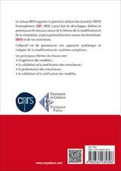 JDF 2016 ; les journées DEVS francophones ; théorie et applications ; workshop red - 4ème de couverture - Format classique