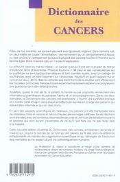 Dictionnaire des cancers (3e édition) - 4ème de couverture - Format classique