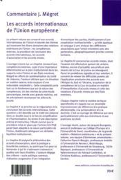 Les accords internationaux de l'Union européenne ; relations extérieures (3e édition) - 4ème de couverture - Format classique