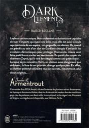 Dark elements t.1 ; baiser brûlant - 4ème de couverture - Format classique