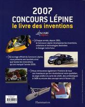 2007, concours lépine ; le livre des inventions - 4ème de couverture - Format classique