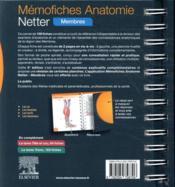 Mémo-fiches ; anatomie Netter ; membres (5e édition) - 4ème de couverture - Format classique