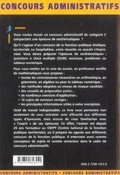 Les Epreuves De Mathematiques Categorie C Nouvelle Edition - 4ème de couverture - Format classique