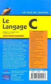 Le Langage C - 4ème de couverture - Format classique