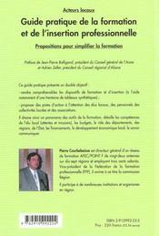 Guide pratique de la formation et de l'insertion professionnelle - 1ere ed. - 4ème de couverture - Format classique