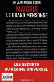 Maigrir, le grand mensonge - 4ème de couverture - Format classique