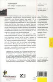 Accélération ; une critique sociale du temps - 4ème de couverture - Format classique