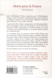 Morts pour la france ; intégrale - 4ème de couverture - Format classique