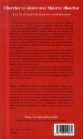 Chercher en silence avec Maurice Blanchot ; à partir de la pensée française contemporaine - 4ème de couverture - Format classique