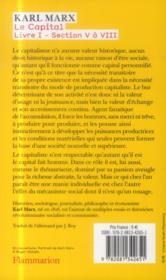 Le capital (liv.I - sect.V-VIII) - 4ème de couverture - Format classique