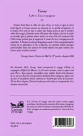 Lettres d'un voyageur t.2 ; Venise - Couverture - Format classique