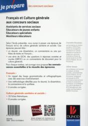 Je prépare ; français et culture générale aux concours sociaux - 4ème de couverture - Format classique