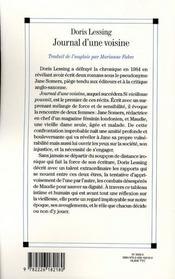 Les carnets de Jane Somers ; journal d'une voisine t.1 - 4ème de couverture - Format classique