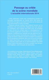 Passage au crible de la scène mondiale ; l'actualité internationale 2014 - Couverture - Format classique