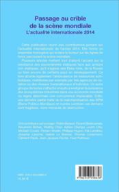Passage au crible de la scène mondiale ; l'actualité internationale 2014 - 4ème de couverture - Format classique