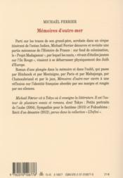 Mémoires d'outre-mer - 4ème de couverture - Format classique