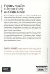 Festins, ripailles et bonne chère au Grand Siècle - 4ème de couverture - Format classique