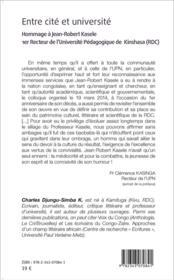 Entre cité et université ; hommage à Jean-Robert Kasele - 4ème de couverture - Format classique