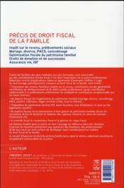 Précis de droit fiscal de la famille (15e édition) - 4ème de couverture - Format classique