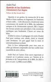 Qumrân et les Esséniens ; l'éclatement d'un dogme - 4ème de couverture - Format classique