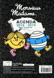 Les Monsieur Madame ; agenda (édition 2018/2019) - 4ème de couverture - Format classique