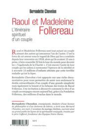 Raoul et Madeleine Follereau ; itinéraire spirituel d'un couple - 4ème de couverture - Format classique