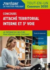 Concours attaché territorial interne et 3e voie ; tout-en-un (édition 2020) - Couverture - Format classique