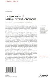 La personnalité normale et pathologique (3e édition) - 4ème de couverture - Format classique