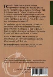 Rimes et comptines - 4ème de couverture - Format classique