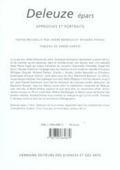 Deleuze epars - approches et portraits - 4ème de couverture - Format classique
