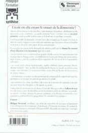 Ecole Est-Elle Encore Le Creuset De La Democratie? - 4ème de couverture - Format classique