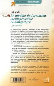 La validation des acquis de l'expérience t.2 ; le module de formation incompressible et obligatoire - 4ème de couverture - Format classique