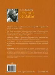 Les taxis de Dakar - 4ème de couverture - Format classique