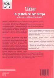 Maitriser La Gestion De Son Temps - 4ème de couverture - Format classique