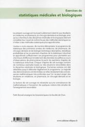 Exercices de statistiques médicales et biologiques ; UE4 - 4ème de couverture - Format classique