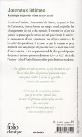 Journaux intimes de Madame de Staël à Pierre Loti - 4ème de couverture - Format classique