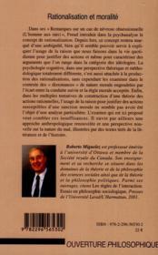 Rationalisation et moralité - 4ème de couverture - Format classique