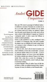 André Gide t.2 ; l'inquieteur - 4ème de couverture - Format classique