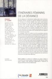 Itinéraires féminins de la déviance - 4ème de couverture - Format classique