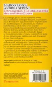 Introduction A La Philosophie Des Maths - 4ème de couverture - Format classique