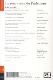 Revue Pouvoirs N.146 ; Le Renouveau Du Parlement - 4ème de couverture - Format classique