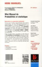 Mini manuel ; probabilités et statistique ; L1/L2/PACES/IUT ; cours, annales, exos (4e édition) - 4ème de couverture - Format classique