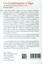 Un guadeloupéen à Alger ; Me Maurice l'Admiral (1864-1955) - 4ème de couverture - Format classique
