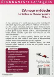 L'amour médécin ; le sicilien ou l'amour peintre - 4ème de couverture - Format classique