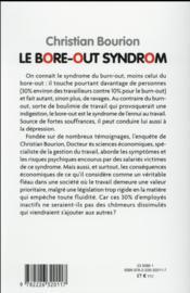 Le bore-out syndrom ; quand l'ennui au travail rend fou - 4ème de couverture - Format classique