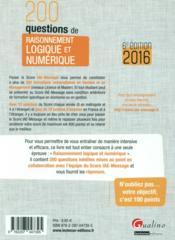 200 questions de raisonnement logique et numérique pour s'entraîner au Score IAE-Message 2016 (6e édition) - 4ème de couverture - Format classique